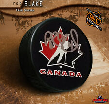 ROB BLAKE Signed Team Canada Puck