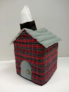 House Shaped Tissue Box Cover Red/Gray Plaid #3