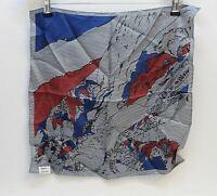 RAPHA  BARBARA AGNES Ladies Blue Red Square Printed 100% Silk Scarf BNWT