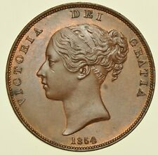 More details for 1854 victoria penny, ornamental trident, date double struck, british coin unc