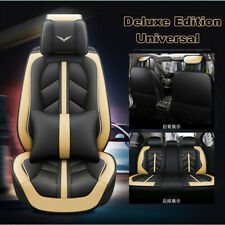 Deluxe Beige PU Leather Full Surround Car Seat Cover Cushion Set For 5 Seat Car