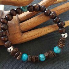 Palm Wood & Turquoise Bracelet with 2 Vibration Healing Balls Mala