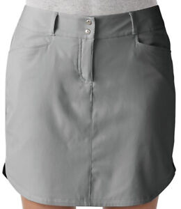 Adidas Golf Skort Ladies Essentials 3 Stripe Grey Womens Size 0 New