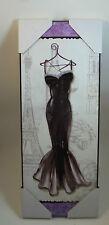 Fashion Design Diva Black Dress Eiffel Tower Wine Glass Bottle Chic Wall Sign