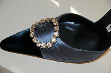 $1130 New MANOLO BLAHNIK JEWELED navy Velvet Satin Crystals SEDARA SHOES 40.5