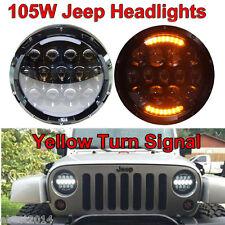 2pcs 7inch Round 105W LED Headlight Lamp DRL Turn Signal Jeep Wrangler JK Harley