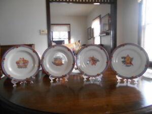 """Pine Cone Birdhouse Bucket Basket &/or Cones Salad Plate 8"""" Sakura Debbie Mumm !"""
