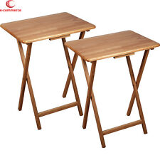 Folding TV Tray Table 2 Piece Set Coffee Snack Dinner Serve Wood Furniture Stand