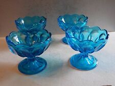 4 Anchor Hocking Glass Fairfield Pattern Laser Blue Footed Sherbet Bowls