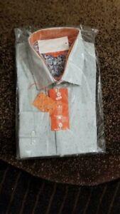 NWT 85.00 TALLIA Men Beige LONG-SLEEVE DRESS SHIRT 16.5 34/35