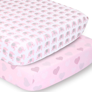 The Peanutshell Fitted Crib Sheet Set for Baby Girls   Pink Elephant & Hearts  