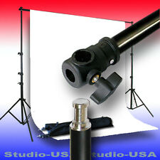 10X10 FEET WHITE MUSLIN WITH LONG FOOTPRINT BACKDROP STAND KIT
