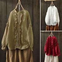 ZANZEA Women Oversize Long Sleeve O-Neck Cotton Baggy Blouse Top Shirt Pullover