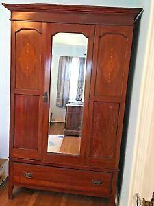 Edwardian Style Wardrobe/Armoire with Mirror