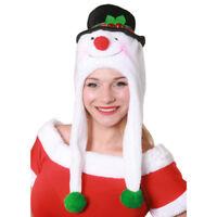 ADULT SNOWMAN HAT PLUSH CHRISTMAS FANCY DRESS COSTUME XMAS PARTY LADIES MENS