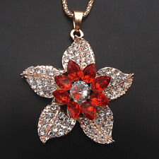 Rose Gold Plated Red Crystal Bauhinia Flower Charm Pendant Long Necklace