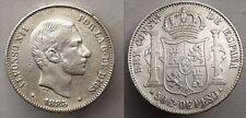 SPAIN ALFONSO XII 50 CENTAVOS DE PESO 1885 MANILA FILIPINAS PLATA SILVER R6260