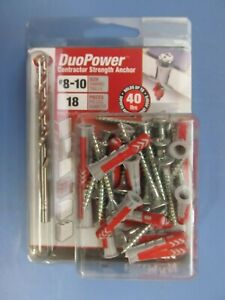 Hillman Duopower Contractor Strength Anchors  Size #8-10 18 pcs. w/drill.  NEW