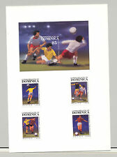 Dominica #935-939 World Cup Soccer 4v & 1v S/S Imperf Proofs Mounted on 1v Card