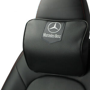 Black Real Leather Car Seat Memory Foam Neck Rest Cushion Pillow Fit For Benz