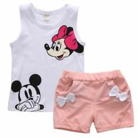 Pudcoco Baby Girl Summer Clothes Set 2 Piece Set Cartoon Minnie Mouse 2-4T Baby