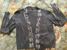 Anne Klein Women's Gray with Sequin Trim Cardigan Sweater Size Small NWOT