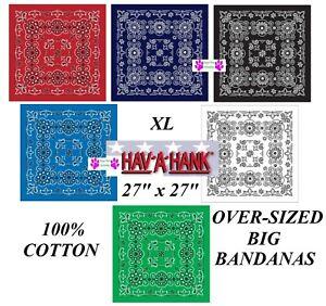 "Hav-A-Hank XL BIG OVER-SIZE 27""PAISLEY BANDANA Head Skull Wrap Scarf Face Mask B"