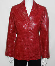 NEW Dialogue SMALL Fully Lined Croco Pattern Embossed Leather Jacket RED A02052