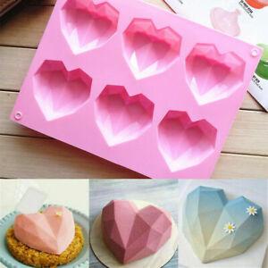 Silikon Backform 3D Herz Fondant Mould Diamant Muffin Kuchen Muffin Schokolade