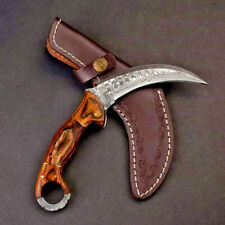 Damascus Steel with Black Canvas Micarta Scales Double Edge Karambit Knife
