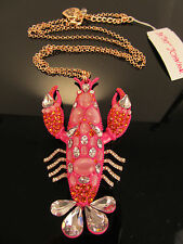 NWT Betsey Johnson Betsey's Boat House, Large Lobster, Pink Necklace $125