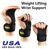 1 Pair Weight Lifting Hooks Gym Gloves Wrist Support Wraps Straps Grip Pads BLK