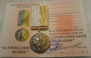 FOR FEAT  CHERNOBYL Nuclear Tragedy LIQUIDATOR Ukrainian Medal Reactor Pripjat