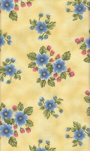 Blue Pink Flowers Yellow Background 100% Cotton Fabric 1 Yard Floral Blossoms