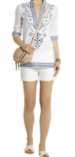 TORY BURCH Tory embroidered cotton-voile tunic Size 6 White Blue Embroidered
