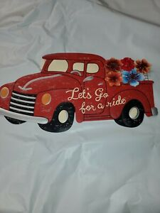 NEW! PIONEER WOMAN DECOR LITTLE RED TRUCK METAL LET'S GO FOR A RIDE! FLORAL (H1)