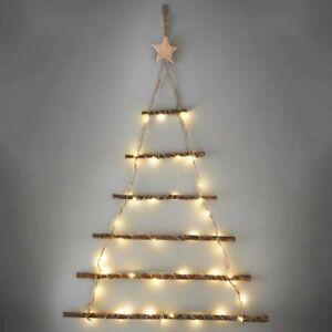 64cm Tall Christmas Wall Twig Tree 40 Warm White LED Lights Xmas Decoration