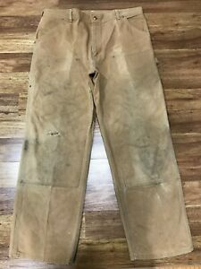 MENS 36 x 30 - Vtg Carhartt Duck Double Knee Dungaree Pants USA