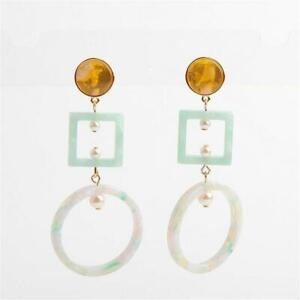 LeLe Sadoughi Cage Geometric Chandelier Earrings Mint Yellow