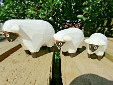 More details for fair trade hand carved made wooden farm sheep set of 3 sculptures ornaments