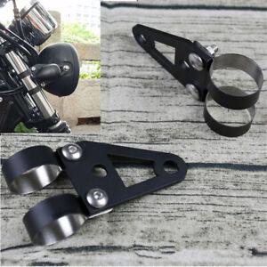 2Pcs Motorcycle Cafe Racer Fork Headlight Mount Bracket Holder Matte Black Steel