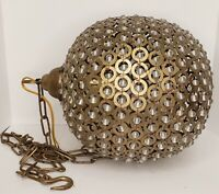 Vintage Brass Sphere Orb Crystal Swag Lamp Retro Mid Century Modern Approx.13""