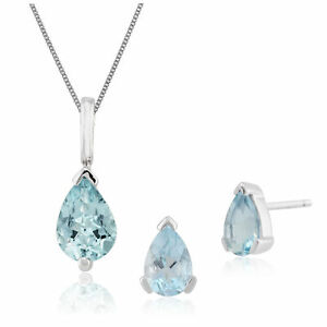Gemondo 9ct White Gold Aquamarine Pear Shaped Stud Earring & 45cm Necklace Set