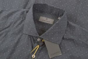 NWT Current Canali 1934 Size Large Dress Shirt Gray White Modern Fit Italy New