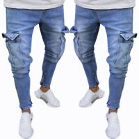 Mens' Skinny Jeans Long Pants Elastic Straight Casual Denim Trousers