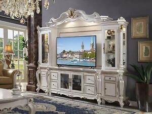 Fernseh Wand Klassisch Wohnwand Echt Handarbeit Holz Vitrine Regal Barock Rokoko