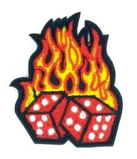 us seller Red Flaming Dice Patch Iron On Sew On Embroidered patches 1576