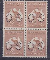K950) Australia 1923 Kangaroo 6d chestnut 3rd wmk mint block of 4 perf. OS.