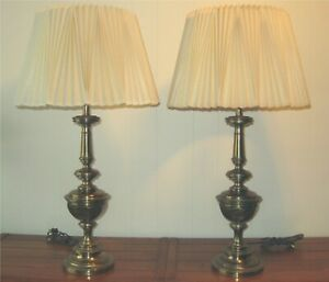 PAIR Vintage STIFFEL BRASS TABLE LAMPS with PLEATED SHADES