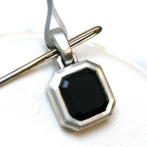DAVID YURMAN Mens New 9 x 8.5mm Emerald cut Black Onyx & Silver Amulet Enhancer
